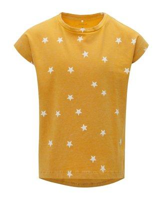 Žlté dievčenské vzorované tričko Name it Fluvva