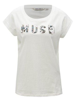 Biele dámske tričko s korálkovou výšivkou Garcia Jeans