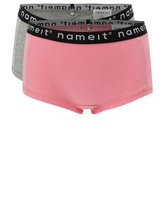 Súprava dvoch dievčenských nohavičiek v sivej a ružovej farbe Name it Hipster