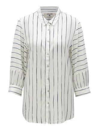 Biela dámska pruhovaná košeľa s 3/4 rukávmi Garcia Jeans