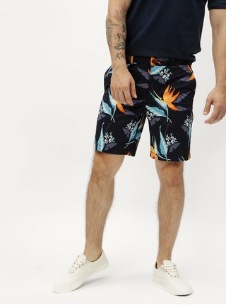 Blugi scurti slim fit negri cu model floral - Original Penguin