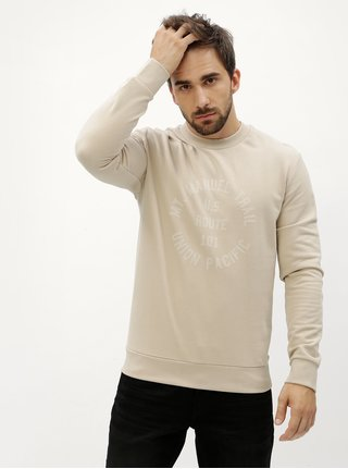 Bluza sport bej cu print text Selected Homme Steven