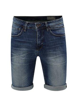 Tmavě modré pánské džínové kraťasy s vyšisovaným efektem Garcia Jeans Russo short
