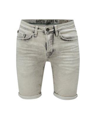 Pantaloni barbatesti scurti gri deschis slim din denim cu aspect prespalat Garcia Jeans Savio