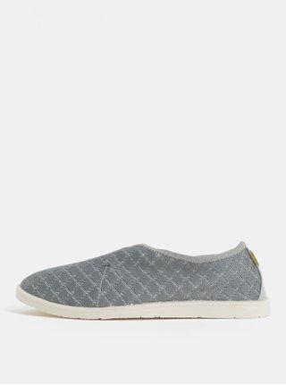 Pantofi barbatesti slip on gri cu detalii din piele naturala Oldcom Summer