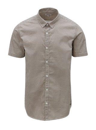 Béžová pánská vzorovaná košile s krátkým rukávem Garcia Jeans
