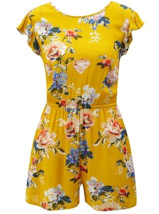 Salopeta mustar cu model floral si volane Dorothy Perkins