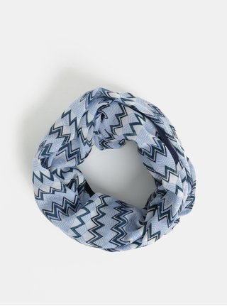 Krémovo-modrá vzorovaná tunelová šatka Pieces Tricana