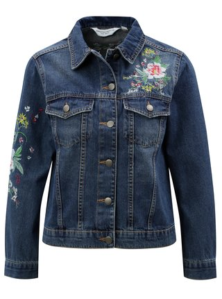 Jacheta albastru inchis din denim cu broderie Dorothy Perkins Petite