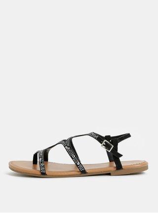 Čierne sandálky s detailmi v striebornej farbe Dorothy Perkins