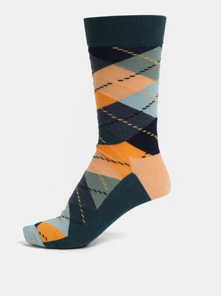 Sosete barbatesti oranj–verde cu model Happy Socks Argyle