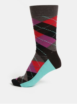 Sosete barbatesti visiniu-maro cu model Happy Socks Argyle