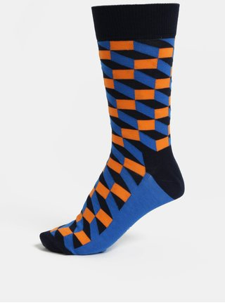 Sosete barbatesti oranj-albastru Happy Socks Filled Optic Sock