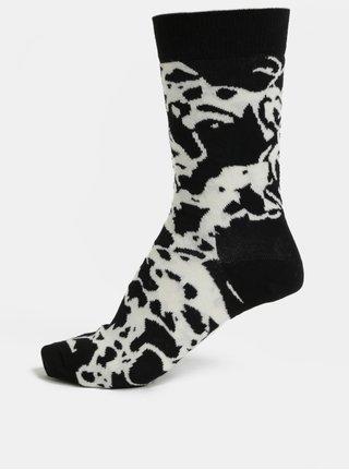 Bílo-černé dámské vzorované ponožky Happy Socks Marble