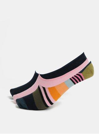Sada tří párů dámských nízkých ponožek v modré a růžové barvě Happy Socks 3-Pack Stripe Liners