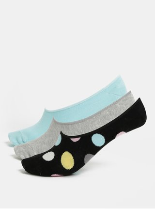Súprava troch párov dámskych ponožiek v sivej, modrej a čiernej farbe Happy Socks 3-Pack Big Dot Liners