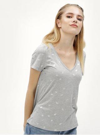 Sivé melírované tričko s motívom pier ONLY Isabella