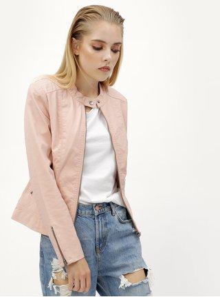 Ružová koženková bunda s vreckami ONLY Saga