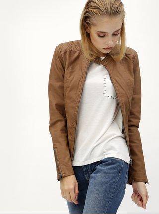Hnedá koženková bunda s vreckami ONLY Saga
