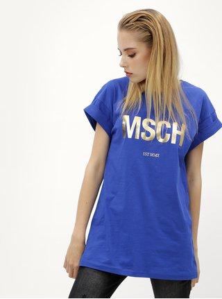Modré voľné tričko s potlačou v zlatej farbe Moss Copenhagen