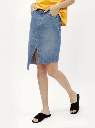 Modrá asymetrická rifľová sukňa s rozparkami Noisy May Rene