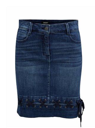 Modrá rifľová sukňa so šnurovaním DKNY