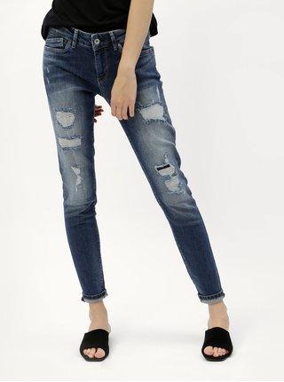 Blugi de dama albastri skinny din denim cu aspect uzat Pepe Jeans Pixie