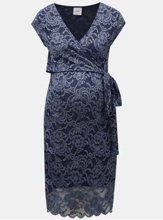 Tmavomodré čipkované tehotenské/dojčiace šaty na zaväzovanie Mama.licious