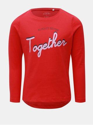 Červené dievčenské tričko s dlhým rukávom Name it
