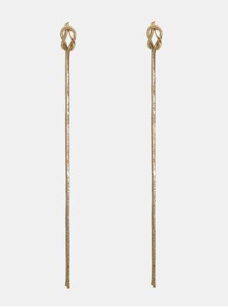 Visiace náušnice s uzlami v zlatej farbe Pieces Tonja