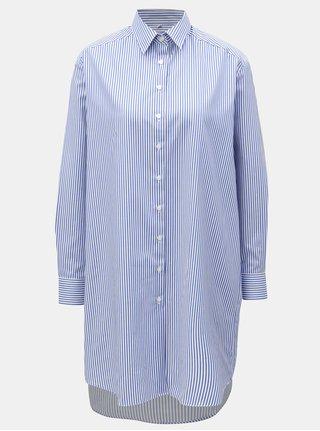 Bílo-modré volné košilové šaty VAVI