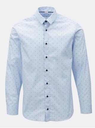 Svetlomodrá pánska bodkovaná formálna košeľa VAVI