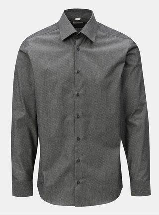 Tmavosivá pánska formálna košeľa s drobným vzorom VAVI
