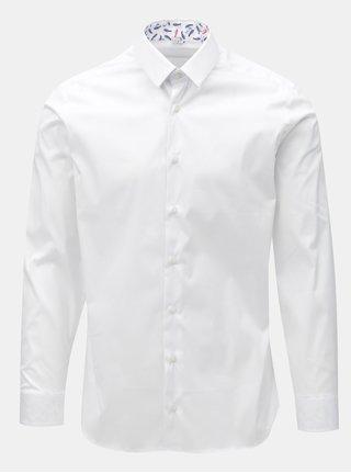 Bílá pánská košile se vzorovanými záplatami na loktech VAVI