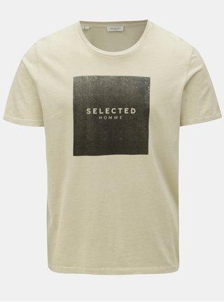 Béžové tričko s potiskem Selected Homme