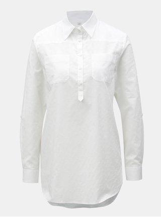 Bílá dámská puntíková košile s náprsními kapsami VAVI