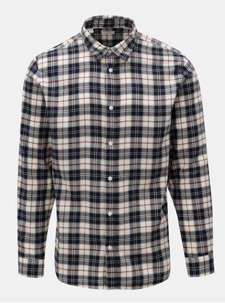 Krémovo-modrá kostkovaná slim fit košile Selected Homme