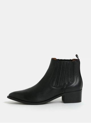 Čierne kožené chelsea topánky Selected Femme