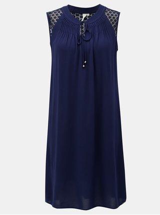 Tmavě modré šaty s krajkou na ramenou S.Oliver