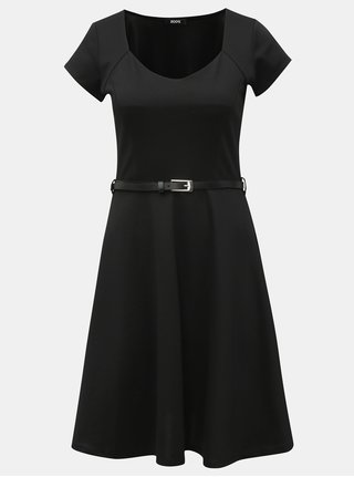 Rochie neagra cu decolteu  si curea - ZOOT