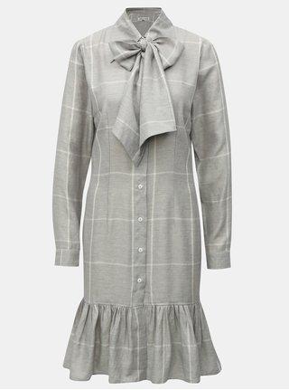 Sivé kockované košeľové ľanové šaty s viazankou THAÏS & STRÖE