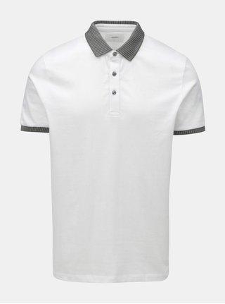 Bílé polo tričko s úpletovým límečkem Burton Menswear London
