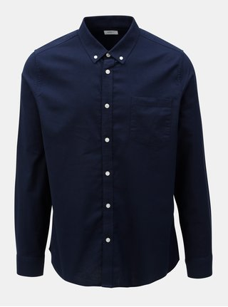 Camasa albastru inchis cu buzunar la piept si maneci lungi Burton Menswear London