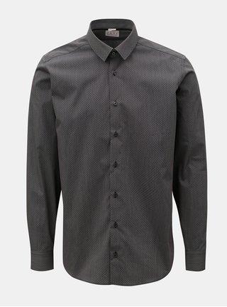 Camasa barbateasca gri inchis cu model discret si cu maneci lungi VAVI