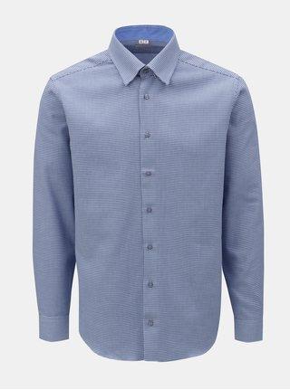 Camasa barbateasca albastra cu model si maneci lungi VAVI