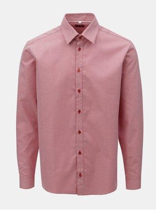 Camasa barbateasca rosie cu model si maneci lungi VAVI
