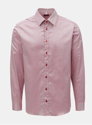 Ružová pánska pruhovaná košeľa s dlhým rukávom VAVI