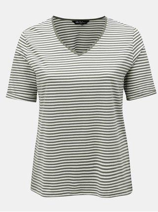 Krémovo-zelené pruhované basic regular tričko Ulla Popken