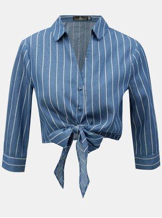 Bluza crop alb-albastru in dungi cu nod MISSGUIDED