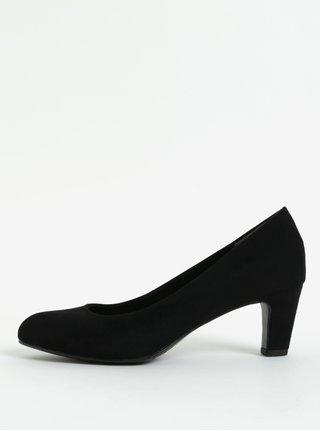 Pantofi negri din piele intoarsa cu toc mic Tamaris